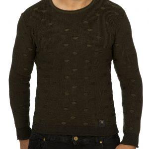 ReRock trendy regulair fit dunne heren winter trui, R556 Khaki