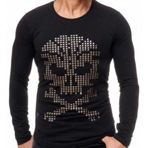 Red Bridge trendy heren skull sweatshirt met studs, R120 Zwart