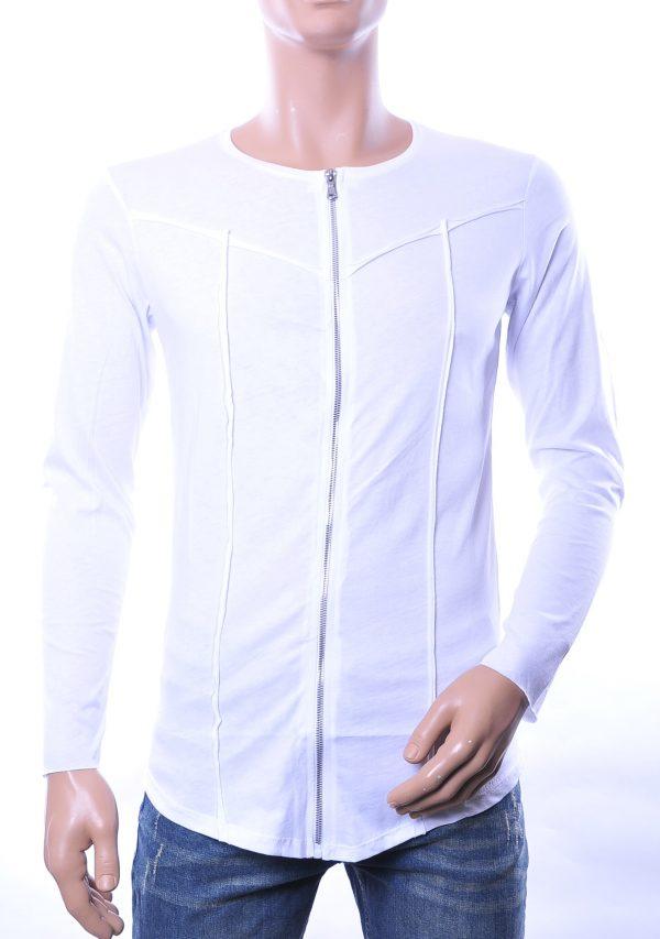 Lagos trendy heren lang sweatshirt met ritssluiting, L836 Wit