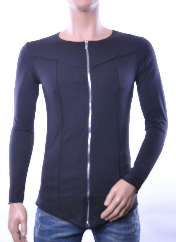 Lagos trendy heren lang sweatshirt met ritssluiting, L836 Zwart