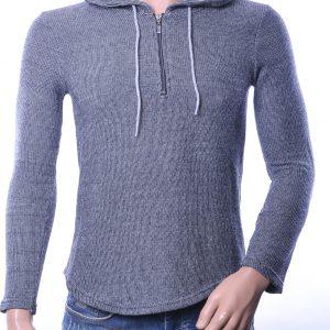 Megaman trendy gebreide heren winter trui met capuchon, M044 Zwart