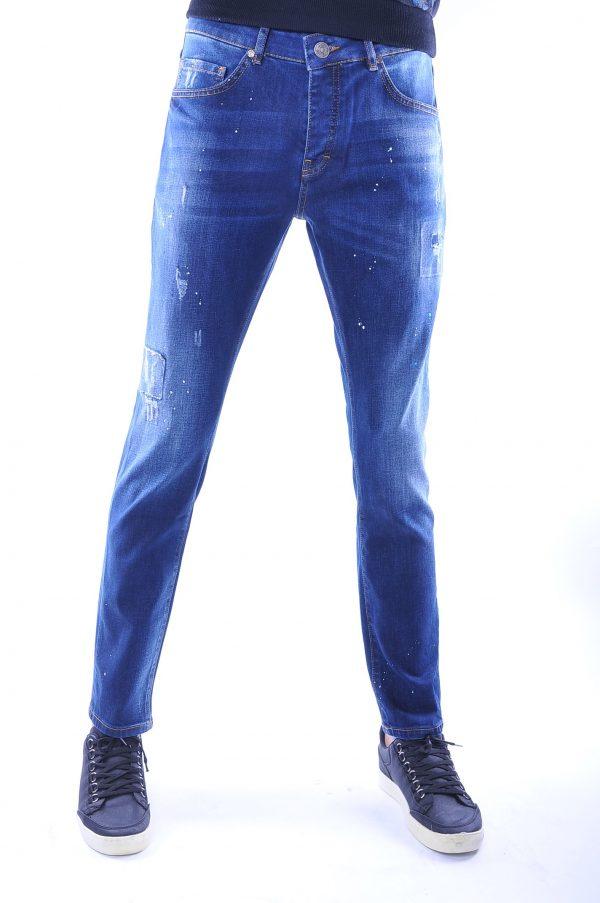 Republix trendy damaged heren jeans met verfspatten, R793 Blauw