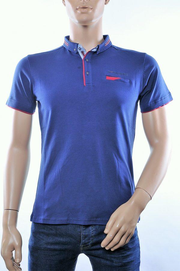 CLUB JU trendy button down kraag heren polo T-Shirt met borstzakje, C287 Navy