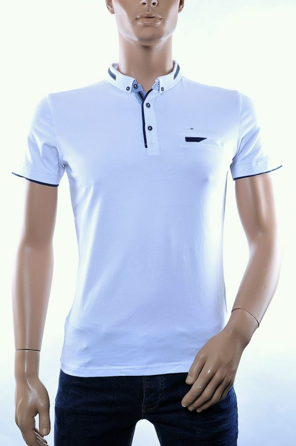 CLUB JU trendy button down kraag heren polo T-Shirt met borstzakje, C287 Wit