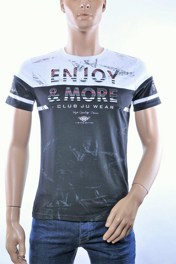 CLUB JU trendy ronde hals heren T-Shirt met 3D letters, C375 Zwart