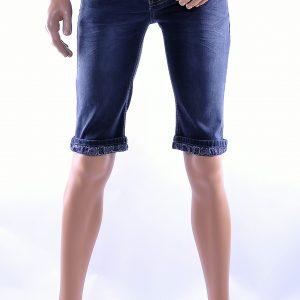 Jaylvis trendy gewassen slim fit heren stretch denim korte broek, J228 Zwart