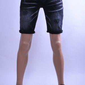 BlackRock hippie gescheurde slim fit heren korte spijkerbroek, B546 Zwart