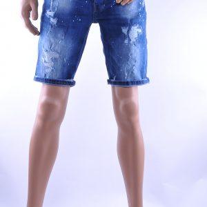 BlackRock hippie gescheurde slim fit heren korte spijkerbroek met verfspetters, B551 Blauw