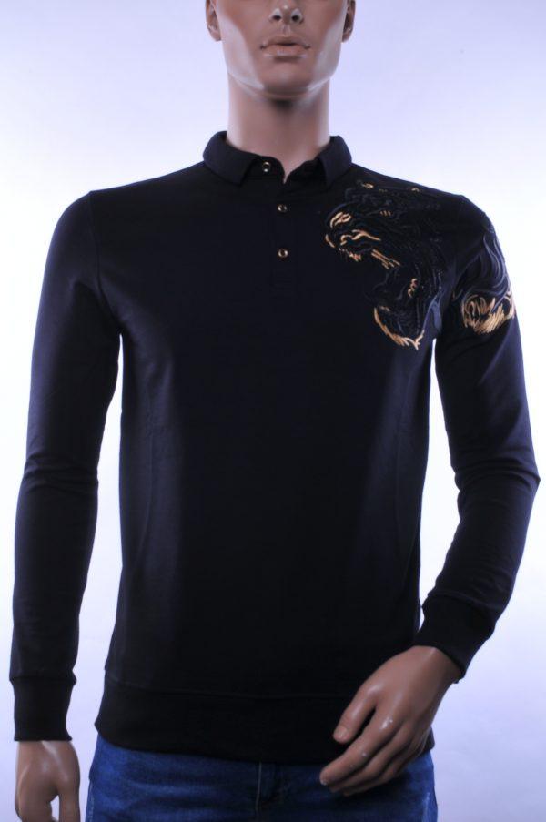 Ci-Borg trendy heren Polo Shirt met geborduurde Tijger kop, C338 Zwart