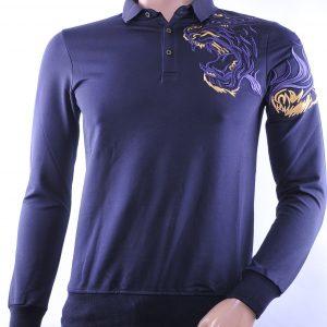 Ci-Borg/Les Designers trendy heren Poloshirt met geborduurde tijgerkop, C338/L398 Navy
