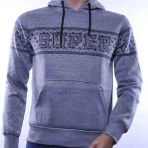Top Star trendy heren sweatshirt met capuchon, T985 Grijs