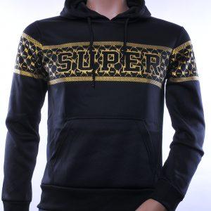 Top Star trendy heren sweatshirt met capuchon, T985 Zwart