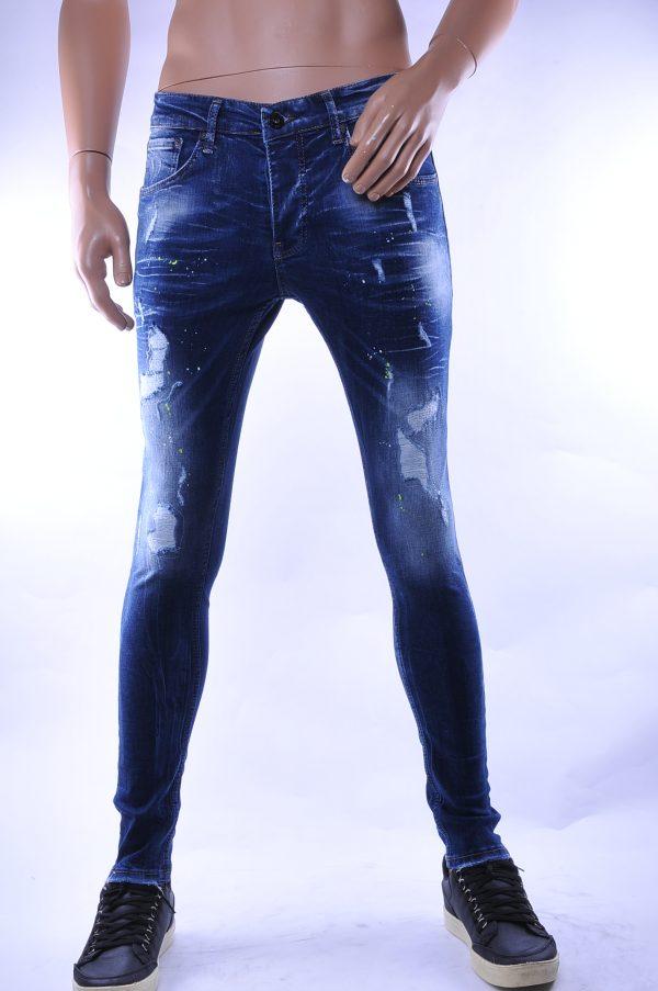 BlackRock trendy gescheurde slim fit heren skinny jeans met verfspetters, B546 Blauw