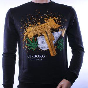 Ci-Borg trendy ronde hals heren sweatshirt met steentjes, C180 Zwart