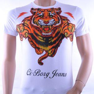 Ci-Borg trendy Tijger print ronde hals heren T-Shirt met steentjes, C330 Wit