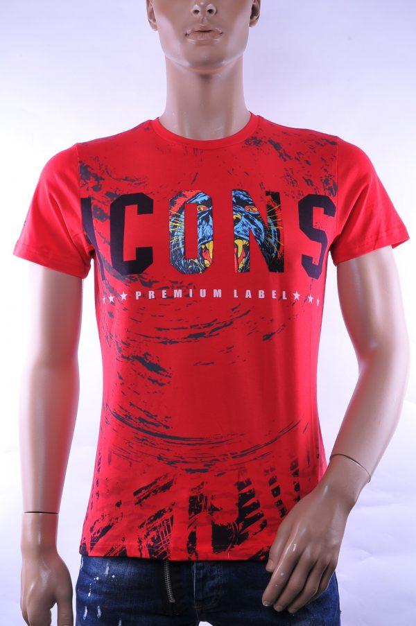 Club Ju trendy ronde hals ICONS print heren T-Shirt, C706 Rood