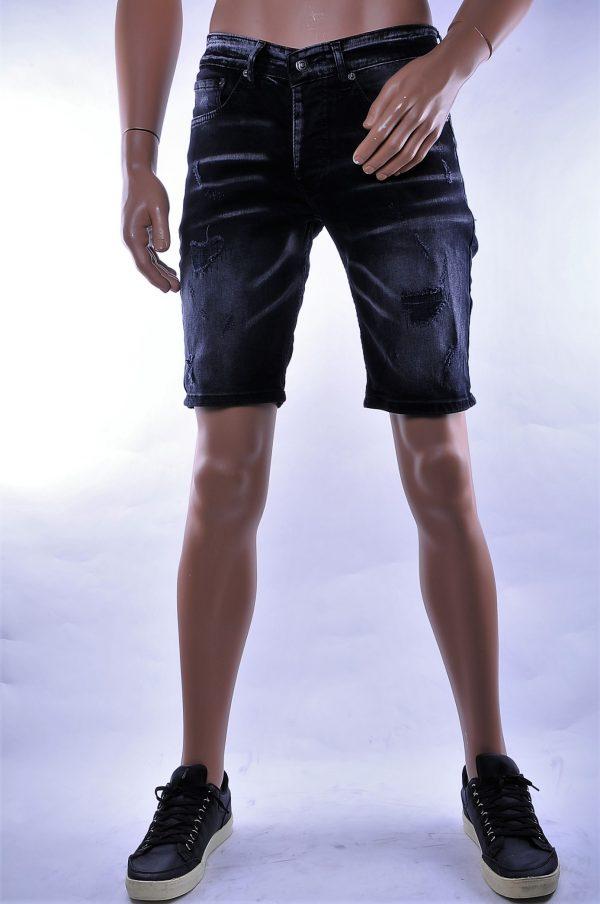 BlackRock hippie gescheurde slim fit heren korte spijkerbroek, B645/B546 Zwart
