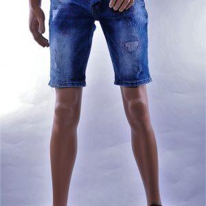 BlackRock hippie gescheurde slim fit heren korte spijkerbroek met verfvlekjes, B553 Blauw
