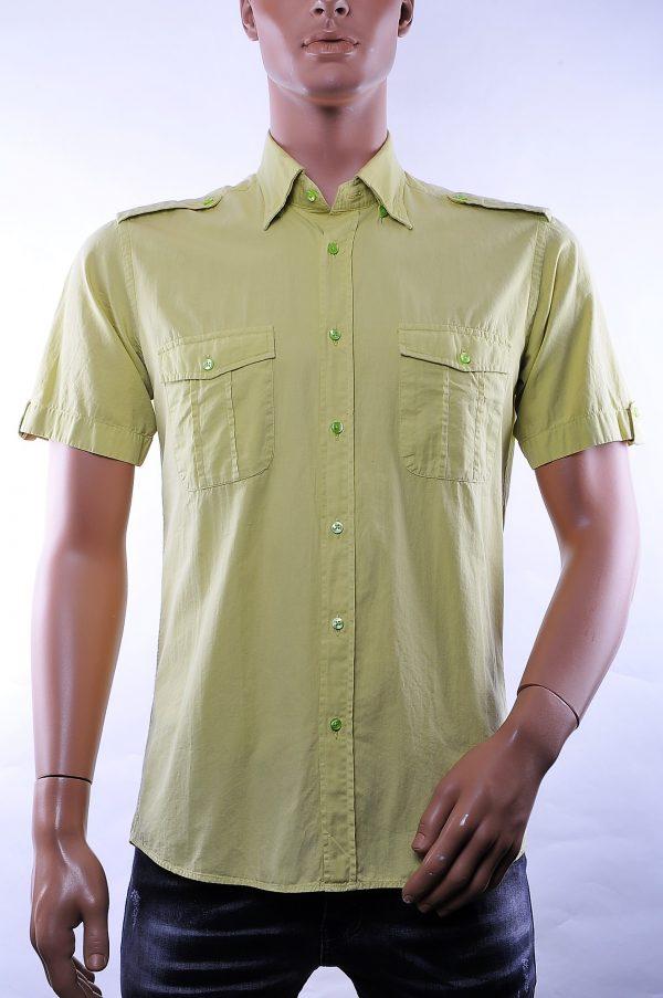 Corrino trendy slim fit effen linnen korte mouwen heren overhemd met borstzakken, C995 Appelgroen
