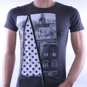 David & Gerenzo trendy slim fit heren lang T-Shirt met city print, D356 Zwart