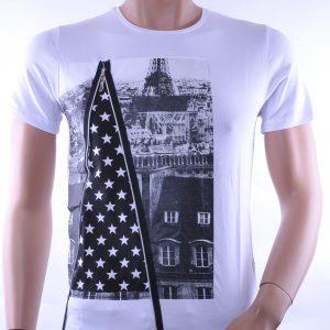 David & Gerenzo trendy slim fit heren lang T-Shirt met city print, D356 Wit