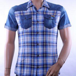 Red Bridge slim fit geruite linnen korte mouwen heren overhemd met borstzakken, R617 Blauw
