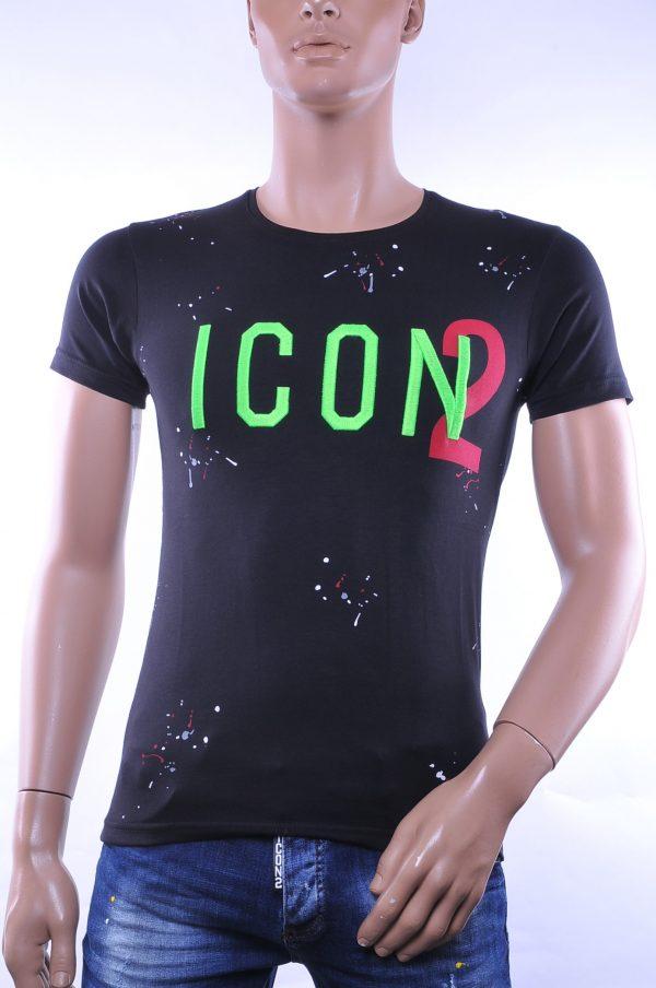 BlackRock trendy ronde hals ICON2 geborduurde T-shirt met verfspatten, B236 Groen
