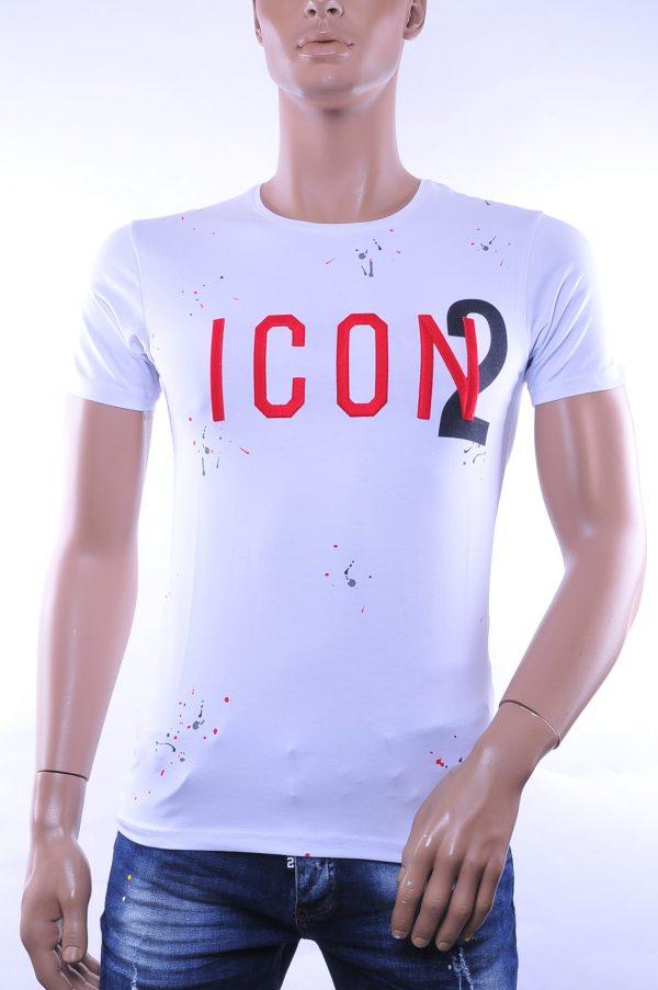 BlackRock trendy ronde hals ICON2 geborduurde T-shirt met verfspatten, B236 Wit