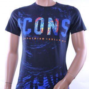 Club Ju trendy ronde hals ICONS print heren T-Shirt, C706 Navy