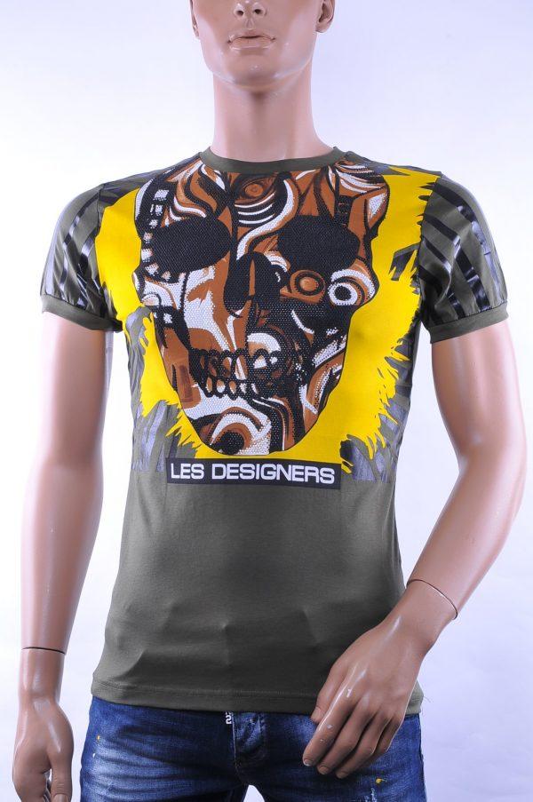 Les Designers trendy ronde hals heren skull T-Shirt met steentjes, C363 Khaki