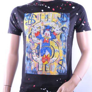 Black Exclusive trendy allover print ronde hals heren T-Shirt met steentjes, B311 Zwart